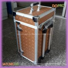 Большой алюминиевый косметический случай Золотой цвет прокатки макияж дела с ящиками (SATCMC023)