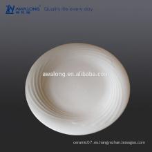 Liso de alta blancura redonda de 11,75 pulgadas de diámetro de relieve placas planas de cerámica