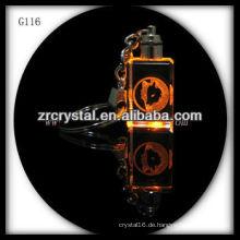 LED-Kristall-Schlüsselanhänger mit 3D-Laser graviert Bild innen und leer Kristall Schlüsselanhänger G116