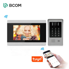 Video Intercom System Waterproof Touch Screen 7 Inch Password and Card to Unlock Digital SIP Apartment