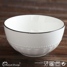 White Porcelain Embossed with Red Rim Dinner Plate
