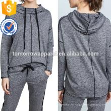 Серый изогнутый асимметричный Подол Hoodes и кофты цвет/ODM Производство Оптовая продажа женской одежды (TA7002H)