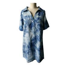 Falda de mujer de jeans de cuello en V de manga corta de verano