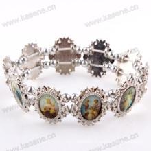 Fashion Silver Ellipse Holy Mixed Saint Images Bracelet Sharp Metal Rosary