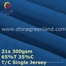 Tela hecha punto algodón del jersey del poliéster T65 / C35 para la camisa de la ropa (GLLML386)