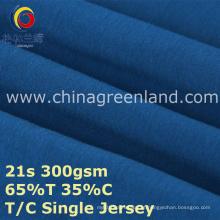 Algodão poliéster T65 / C35 Jersey malha para camisa de vestuário (GLLML386)