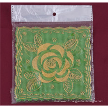 12.5 * 12.5cm forme carrée PVC or dentelle tablemat caractéristique oléofuge / imperméable et de mariage