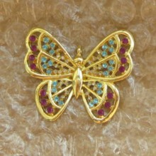 gold-plated crystal rhinestone butterfly
