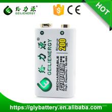 Fábrica Geilienergy Oem Ni-mh Recarregável 9V Bateria 200mAh