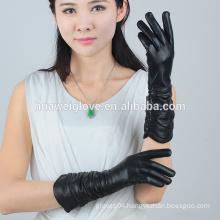 Black sexy women's Lambskin long sleeve Leather Gloves