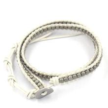 Moda étnica tendência trança corda grânulos pulseira