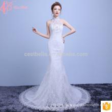 Vestido de boda de lujo de la alta sirena caliente de la venta del cuello alto llano 2017