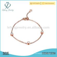 Pulsera cristalina de la manera, pulsera de cadena, pulsera magnética del oro color de rosa