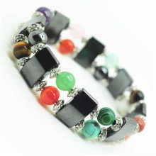 8MM mix round gemstone beads Space Bracelet with alloy and hematite