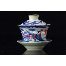 Tradicional Dragon & Phenix taza de té y platillo al por mayor / gaiwan