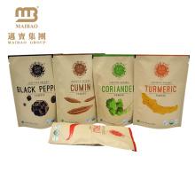 Resealable Zipper Stand Up Packaging Custom Design Logo Printing Brown Kraft Paper Spice Bags