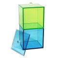 Vasilha quadrada de acrílico com tampa