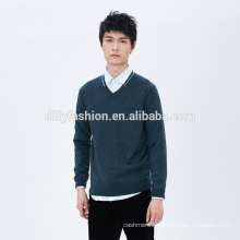 Men fashion slim cashmere V neck long sleeves knit sweater 2017