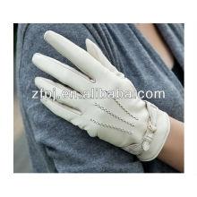 Women's Fashion white leather gloves