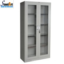 High quality KD structure office used glass two door storage cabinet
