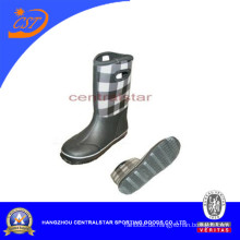 Mode Unisex Schwarz und Weiß Neopren Plaid Stiefel (RB003)