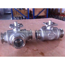 Stainless Steel 3 way clamp ball valve