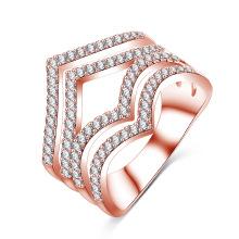 Anillo plateado plata personalizada de la joyería del diamante de la CZ (CRI1022)