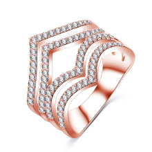 Personalized Silver Plated CZ Diamond Jewelry Ring (CRI1022)