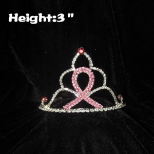 3inch Crystal Pink Ribbon Crowns