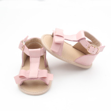 Pink Bowknot Cow Leather Baby Shoes Sandały Grils