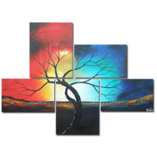 5 Pieces/Set Handmade Landscape Tree Oil Painting on Canvas
