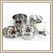 Acier inoxydable Set de casseroles Camping sauvage (CL2C-DT05)