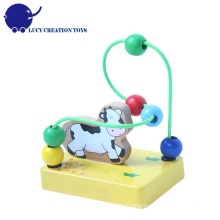Baby Pädagogische hölzerne Kuh Mini Bead Maze Spielzeug