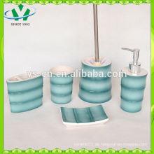 YSb50015-02 blaue keramische Badezimmer-Set mit Bambus-Design