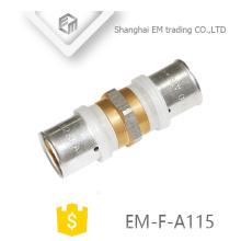 EM-F-A115 conexão de encaixe reto conexão de tubulação de união de latão niquelado