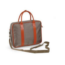 Khaki Womens Laptop Satchel Nylon Bag with Leather Handles