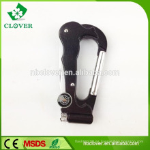 Multi funcione el mini bolsillo plegable 5 en 1 cuchillo de bolsillo del carabiner con la luz