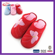 Red Color Fleece Indoor Slippers