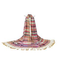 Der lange weiche Wrap Polyester Streifen Schal der Frauen