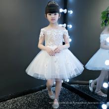Elfenbein Blume Kurzarm Mädchen Kleider
