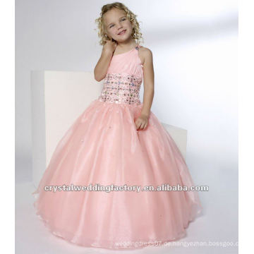 Eine Schulter wulstige Rüschen rosa Ballkleid Rock nach Maß Festzug Kleid Blume Mädchen Kleider CWFaf4136