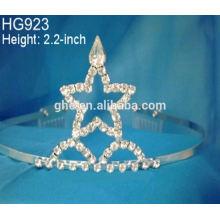 Rhinestone belleza corona tocado cumpleaños de la novia tocado festival estrellas corona