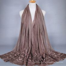 Tingyu al por mayor de algodón musulmán hijab moda mujeres vestidos bordado flores diseños florales bufanda