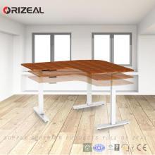 2018 China mais recente design moderno L em forma de altura ajustável quadro de mesa de escritório