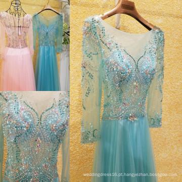 Brilhante Beaded Rhinestone Long Sleeve Evening Dresses 2016 Latest Sexy See Through A linha de vestidos de baile Frete Grátis ML201