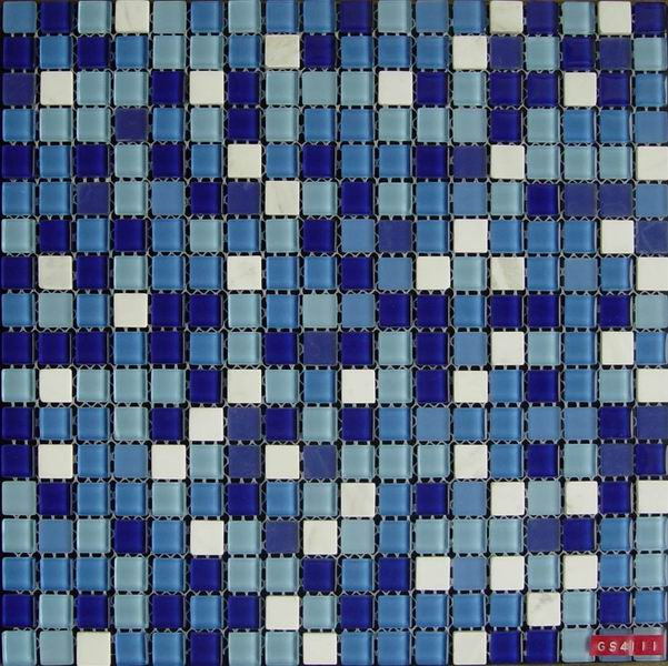 Blue Crystal Glass Stone Mixed Mosaic Tile