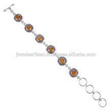 Natural Citrine Gemstone 925 Sterling Silver Bracelet