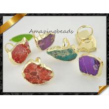 Bague en pierres précieuses Emperor Jasper Ring, Gold Plated Edge Sediment de mer Jasper Slice Finger Rings (FR012)