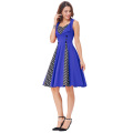 Belle Poque Women's Polka Dot Retro Vintage 50s Style Blue Cocktail Party Swing Dress BP000282-2
