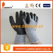 Espuma de nitrilo ultrafino en la palma / guantes de resistencia a cortes en los dedos superiores (DCR420)